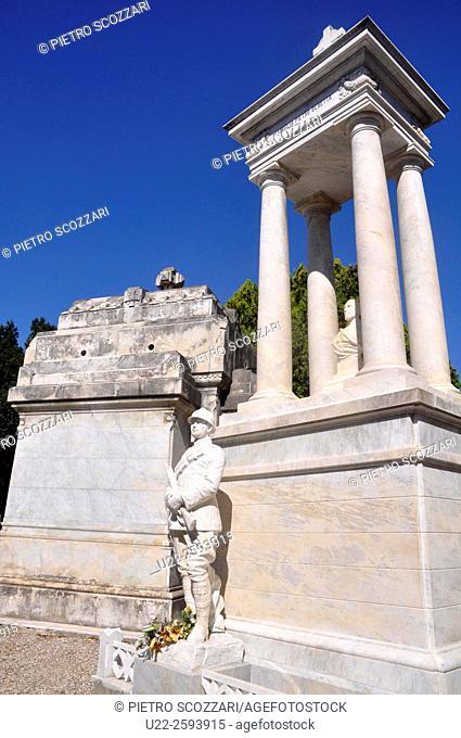 Italy, Emilia Romagna, Ferrara, marble grave in the...