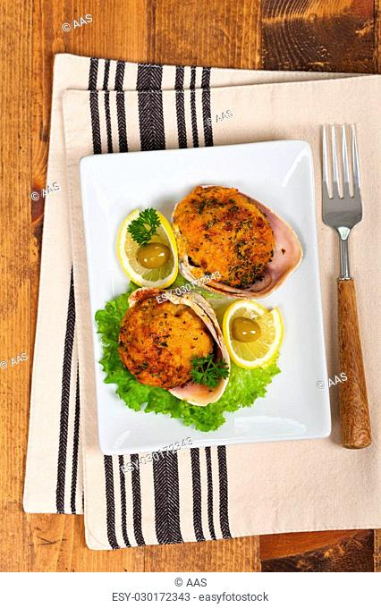 Baked Stuffed Clams. Selective focus