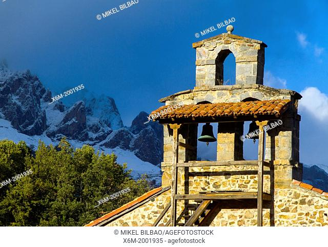 Mogrovejo church and Picos de Europa National Park