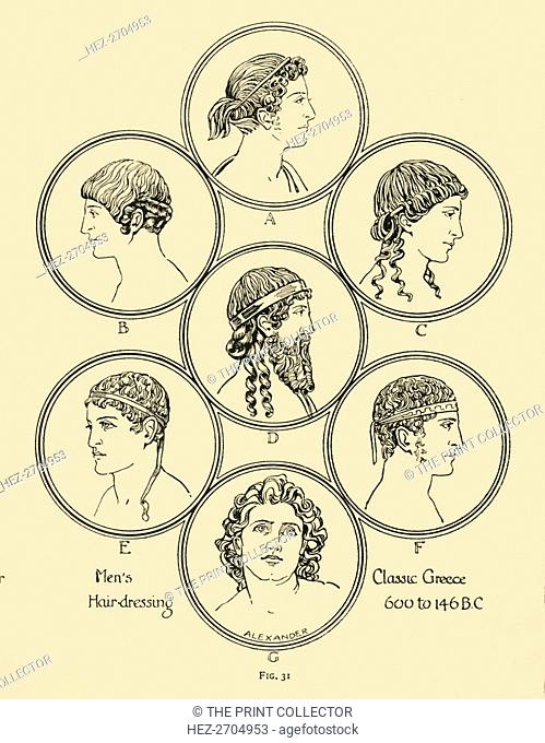 'Men's Hair-dressing - Classic Greece 600 to 146 B.C', 1924. Creator: Herbert Norris
