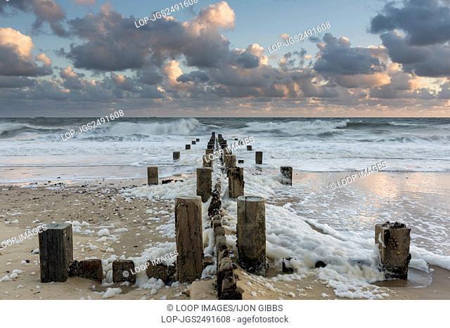 A windy morning and a rough sea at the coast at Mundesley