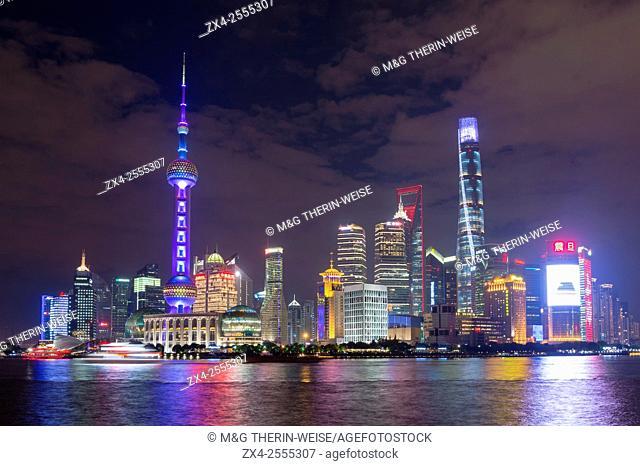 Pudong financial district skyline at night, Shanghai, China