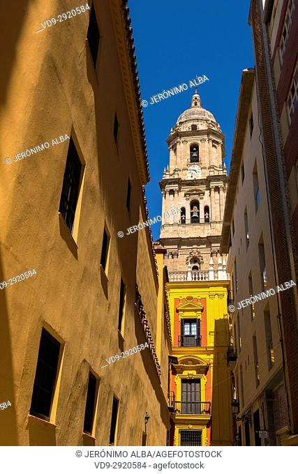 Baroque architecture exterior of the cathedral church, Málaga, Costa del Sol. Andalusia, Southern Spain Europe