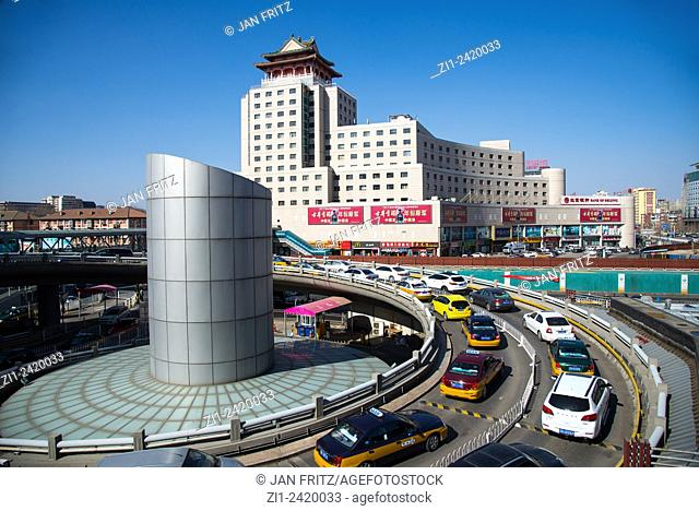 roundabout with traffic at central station in beijing china