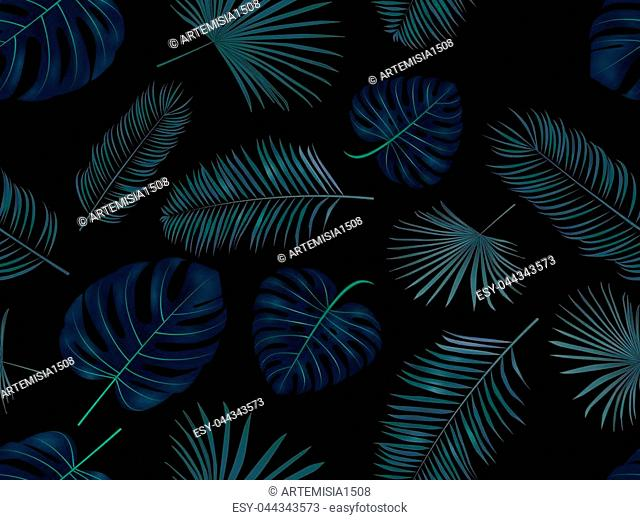 Seamless hand drawn vector pattern with green palm leaves on dark background