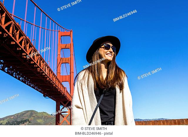 Caucasian woman near Golden Gate Bridge, San Francisco, California, United States