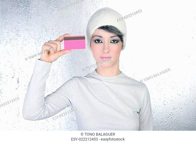 silver winter woman business pink card