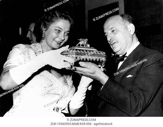Sep. 3, 1956 - Edinburgh, Scotland, U.K. - The Golden Laurel, the Golden Laurel Medals and the Golden Laurel Trophy were presented at the New Victoria Picture...