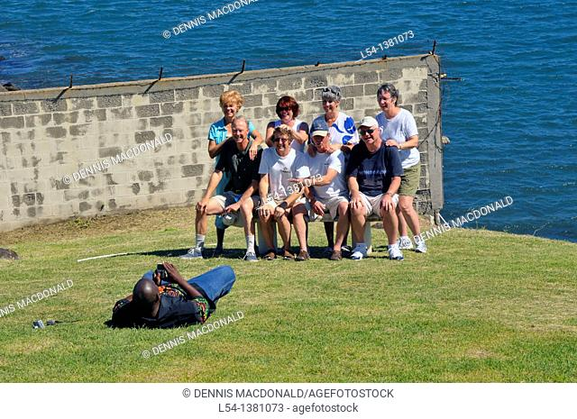 Passengers posing in front of Cruise Ship NCL Basseterre St  Kitts Caribbean Harbor