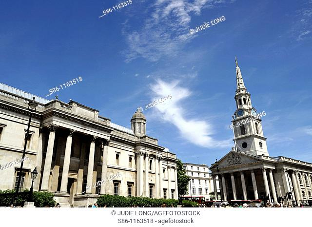 St  Martin-in-the-Fields Church and National Gallery on the Left, London, England