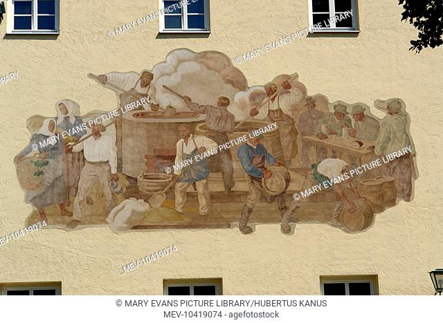 Painting of a brewing scene on the exterior of the oldest brewery in the world, at Weihenstephan, near Freising, north of Munich, Bavaria, Germany
