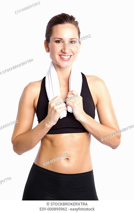 An isolated shot of a sporty beautiful caucasian woman laughing