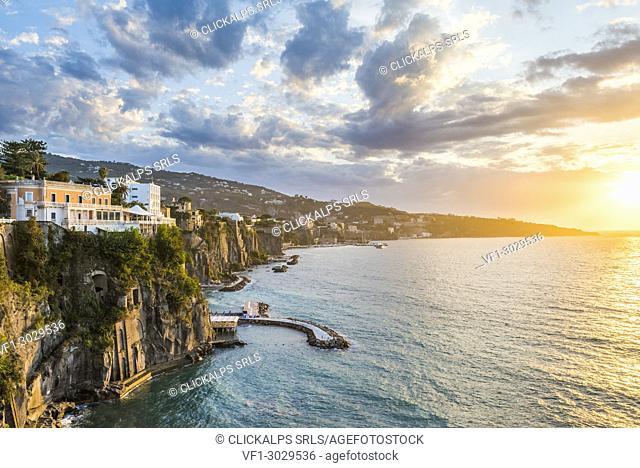 Sorrento, Naples, Campania, Italy. Sorrento coastline at sunset