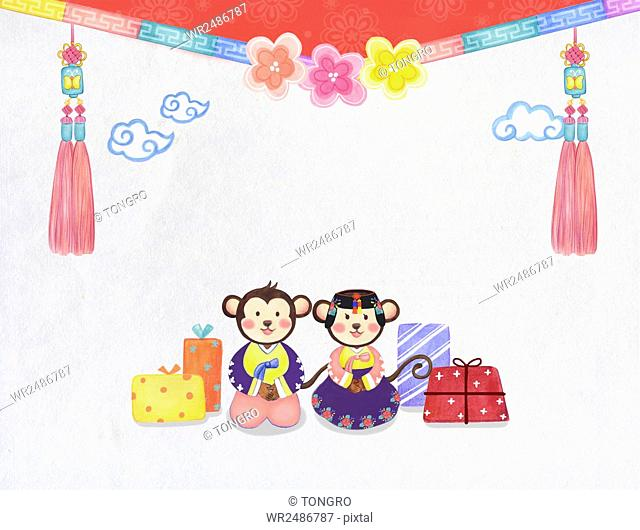 New year 2016 with monkeys in traditional Korean clothes ,present boxes and traditional Korean ornaments