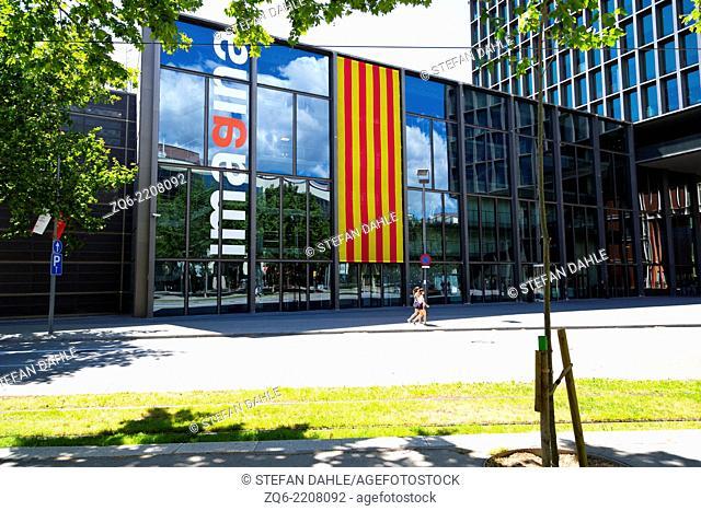 Catalan Flag on an Exterior Facade in Barcelona, Spain