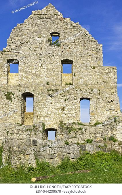 Gable side of a dilapidated medieval castle ruin, Hohenurach Castle, Swabian Alb, Germany
