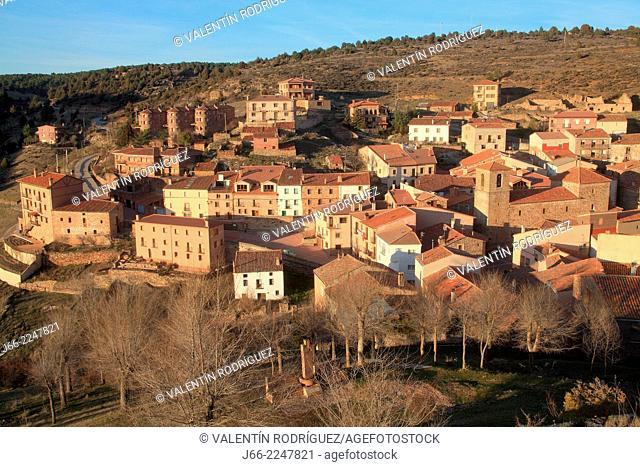 view of the village of Cobeta. Natural Park Alto Tajo. Guadalajara