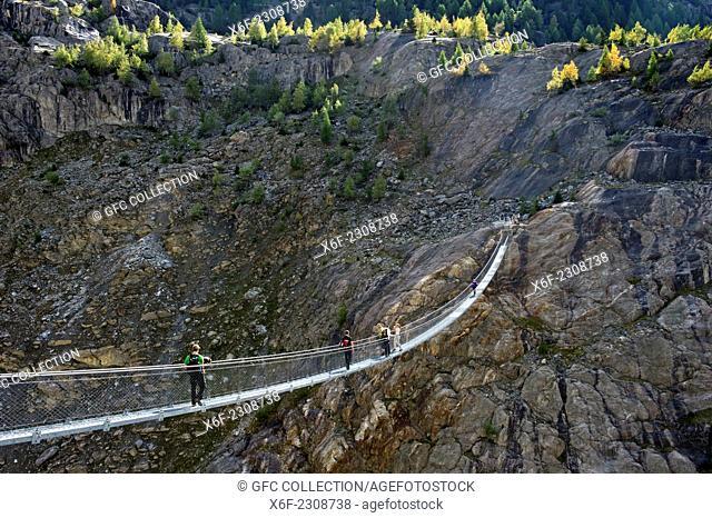 Span ribbon bridge spanning the Massaschlucht canyon,Tourism region Belalp, Valais, Switzerland