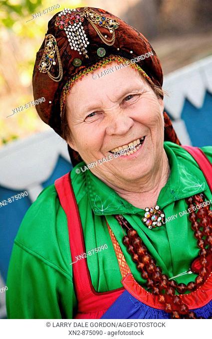 Russia. Tarbagatai Villlage of Old Believers of original Russian Orthodox. Village Woman. Zinaida. Leader of the ladies Bilina Choir