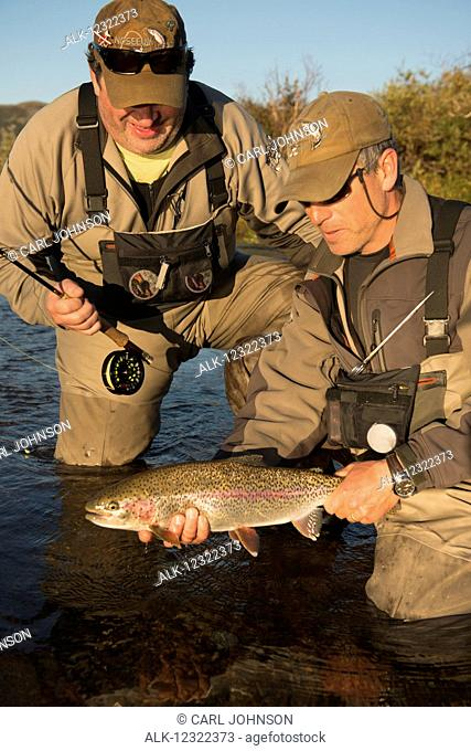 Two anglers release a rainbow trout back into Kvichak River near Iliamna Lake in the Bristol Bay region of Southwest Alaska, USA