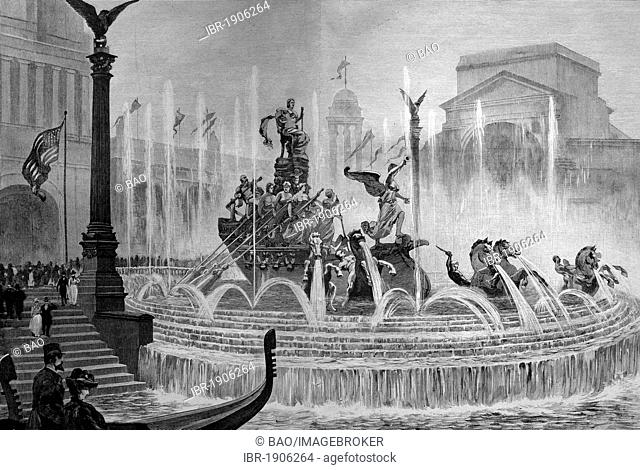 Columbia Fountain in Chicago, Illinois, USA, America, woodcut circa 1871