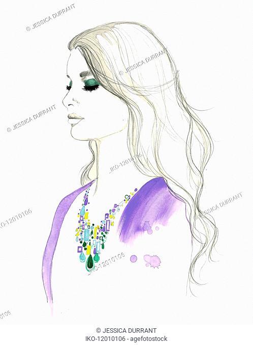 Fashion illustration of woman wearing gemstone necklace