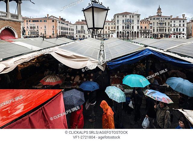 Rainy day in Rialto Market, Venice, Veneto, Italy