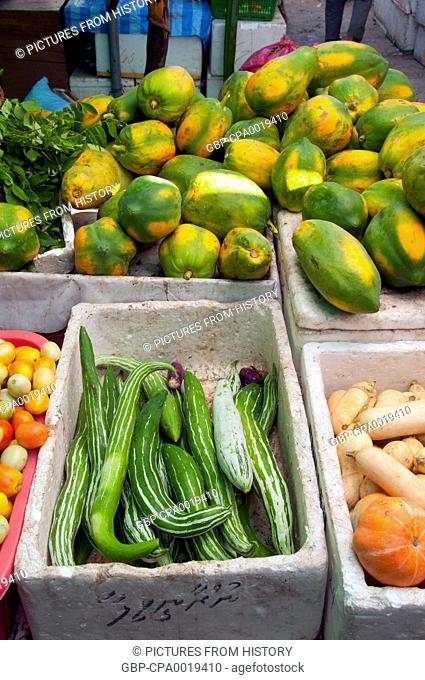 Maldives: Fruit and vegetable market in the capital Male, North Male Atoll