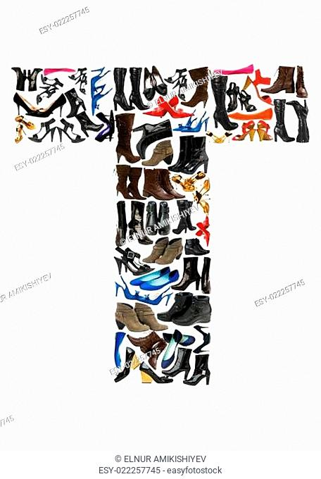 Font made of hundreds of shoes - Letter T