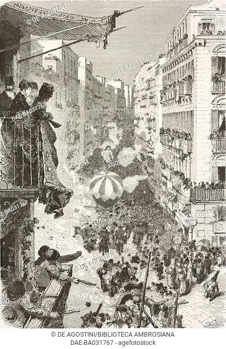 Via Roma on the Day of Confetti, Carnival of Naples, Italy, drawing by Edoardo Dalbono (1841-1915) and Francesco Paolo Michetti (1851-1929)