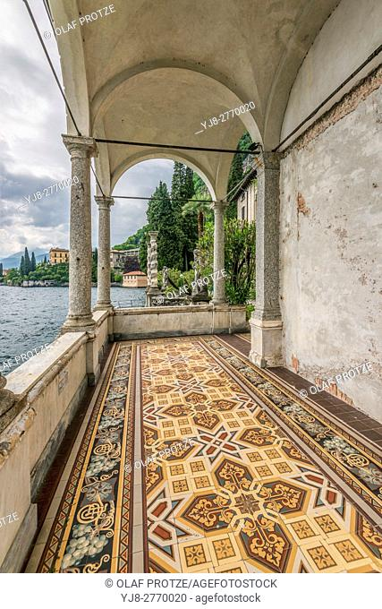 Ornate tiled floor at the pavilion at the Botanic Garden of Villa Monastero, Varenna, Lombardy, Italy