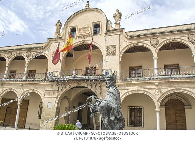Statue of Alfonso X in the Plaza de Espana in the Spanish city of Lorca Murcia Spain