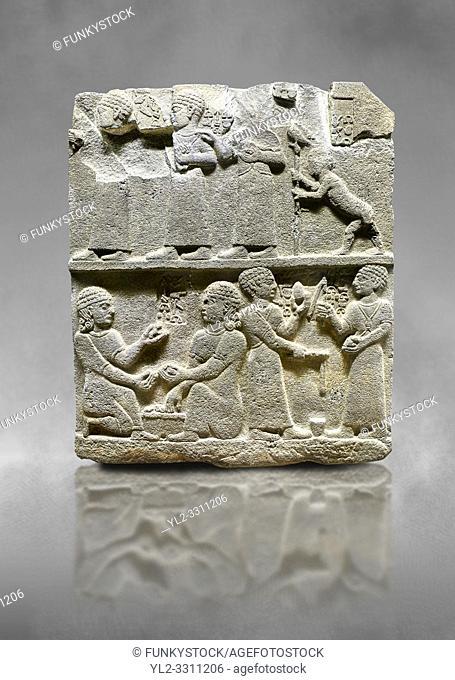 Hittite monumental relief sculpted orthostat stone panel of Royal Buttress. Basalt, Karkamıs, (Kargamıs), Carchemish (Karkemish), 900 - 700 B. C