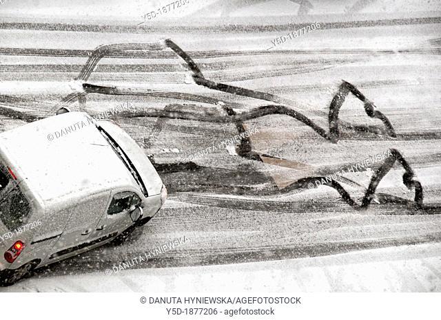 Winter driving problems, Geneva, Switzerland