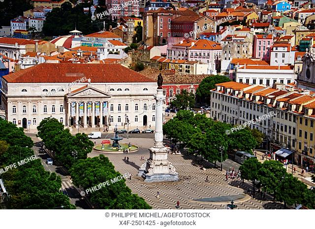 Portugal, Lisbon, Rossio square or Dom Pedro IV square