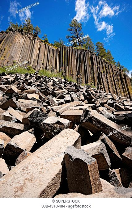 Devil's Postpile National Monument, near Mammoth Lakes, California, is a formation of columnar basalt lava that settled into hexagonal and similar shapes during...