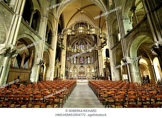 France, Marne, Reims, St Remi Basilica listed as World Heritage by UNESCO, central nave and the crown of light