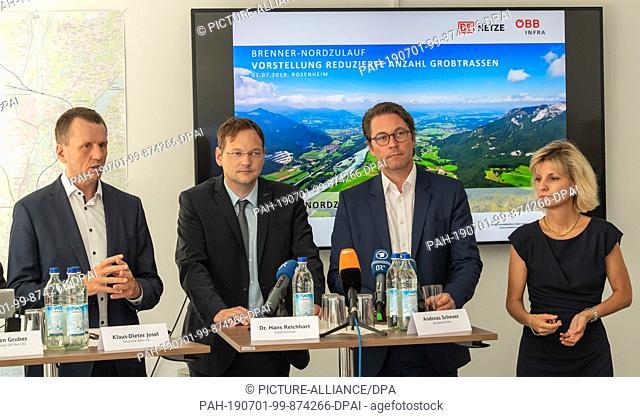 01 July 2019, Bavaria, Rosenheim: Klaus-Dieter Josel (l-r), Head of Bavarian Railways, Hans Reichhart (CSU), Minister of State for Housing