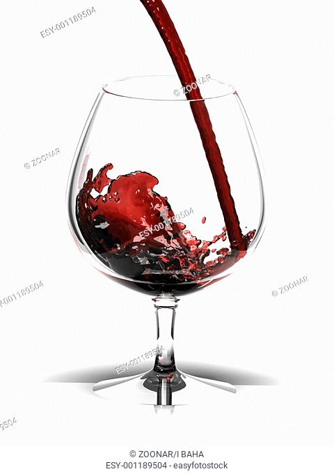 Red wine in glass over white