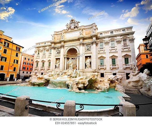 Beautiful Fountain de Trevi in Rome, Italy