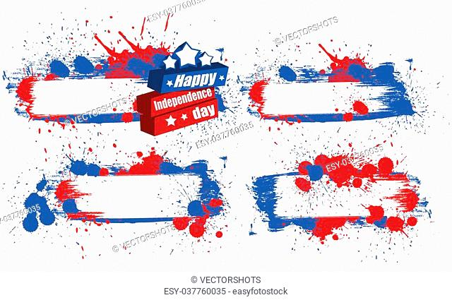 Drawing Art of Grunge Banners Set - Patriotic USA Theme Vector Illustration