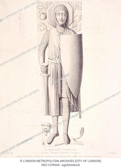View of the effigy of a knight from Temple Church, London, 1840. This is one of a number of effigies in Purbeck Marble from the church and is shown with...