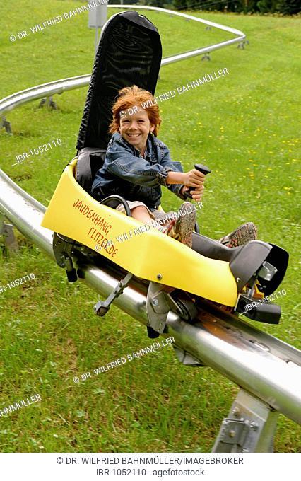 Jaudenflitzer toboggan track at Mt Brauneck, Lenggries, Toelzer Land, Isartal Valley, Upper Bavaria, Germany, Europe