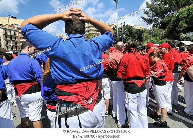 Castellers, traditional human towers, typical in Catalonia, Barcelona, Catalonia, Spain