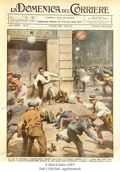 The killing of Dillinger, the famous American gangster. Illustrator Achille Beltrame (1871-1945), from La Domenica del Corriere, 5th August 1934
