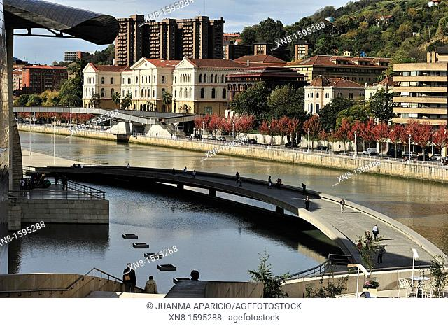The Guggenheim museum, University view from bridge La Salve, Euskadi, Spain. Basque Country