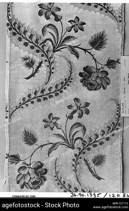 Piece. Date: 1750-60; Culture: French; Medium: Silk; Dimensions: L. 25 1/2 x W. 9 1/2 inches; Classification: Textiles-Woven; Credit Line: Gift of The United...