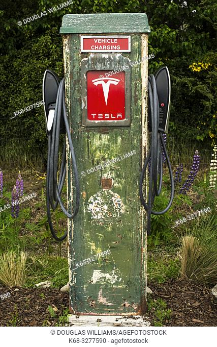 Tesla charging station in Cardrona, South Island, New Zealand