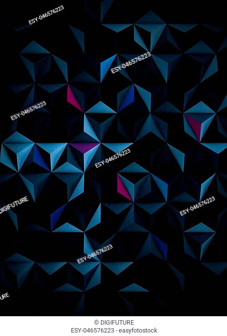 A dark cyanotype background with multicolored design elements - 3d illustration