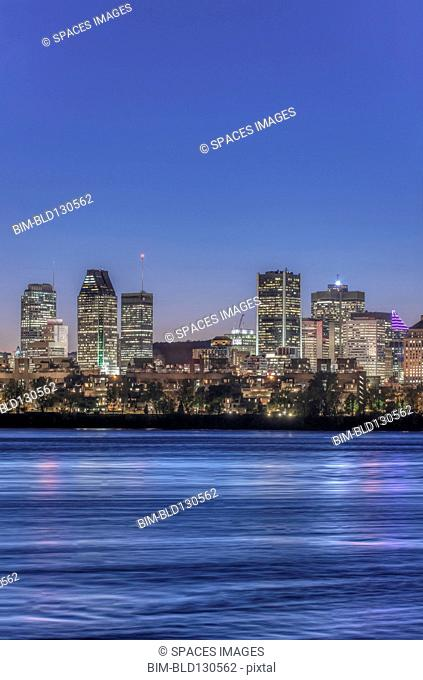 Montreal city skyline lit up at night, Quebec, Canada
